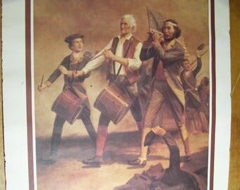 "1975 Poster SPIRIT OF '76 Metromedia Archinbald M. Willard Dennis Signed Note (18x23.5"")"