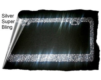 TOP SELLER sparkly silver large glitter sparkle mega bling sparkly silver metal License Plate Frame