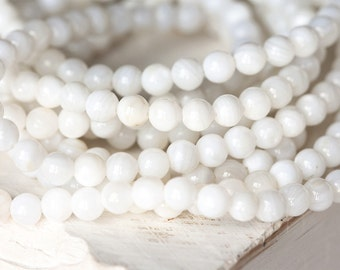 2284_70_Ivory mother of pearls 6 mm, Round mother of pearls, Natural white mother of pearls, Round beads, Natural mother of pearl, MOP beads