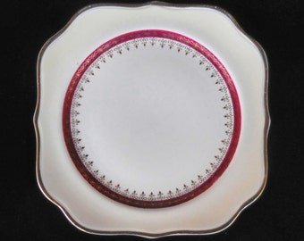 Homer Laughlin Square Salad Plate in the Cardinal Monarch pattern Eggshell Nautilus