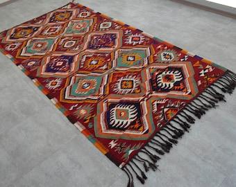 58'' x 110'' Turkish Kilim Rug Hand Woven Wool Flat Weave Area Rug 147 cm x 280 cm FREE shipping to USA from Turkey SKU : BS3521