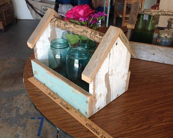Vintage Style Wooden Tool Box - Barnwood Tote - Tool Caddy or Garden Caddy