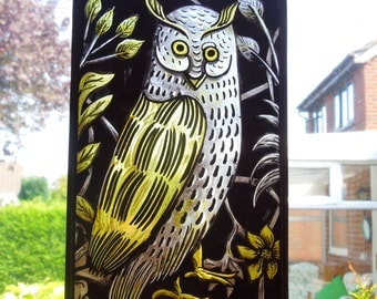 Medieval,Style,Handmade, Owl, Bird, Stained Glass Suncatcher