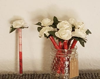 Floral Pen - Red stem w/white floret