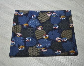 cotton japanese blue owl  fabric 1/2 yard