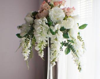 Extra Large Wedding Centerpiece, Cascading Centerpiece, Silk Wedding Flowers, Roses, Fern, Peonies, Wisteria, Wedding Decor Flowers