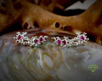Sterling Silver Ear Cuff Pin Earrings Coral Reef Ear Wrap Earrings