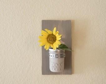 Rustic Wall Flower Vase, Wall Mason Jar, Vanity Mason Jar Storage