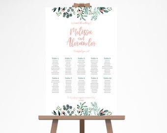 Garden Wedding Seating Chart, Romantic Wedding Seating Chart, Rustic Wedding Seating Plan, Rustic Wedding Seating Chart Template, GRDWS