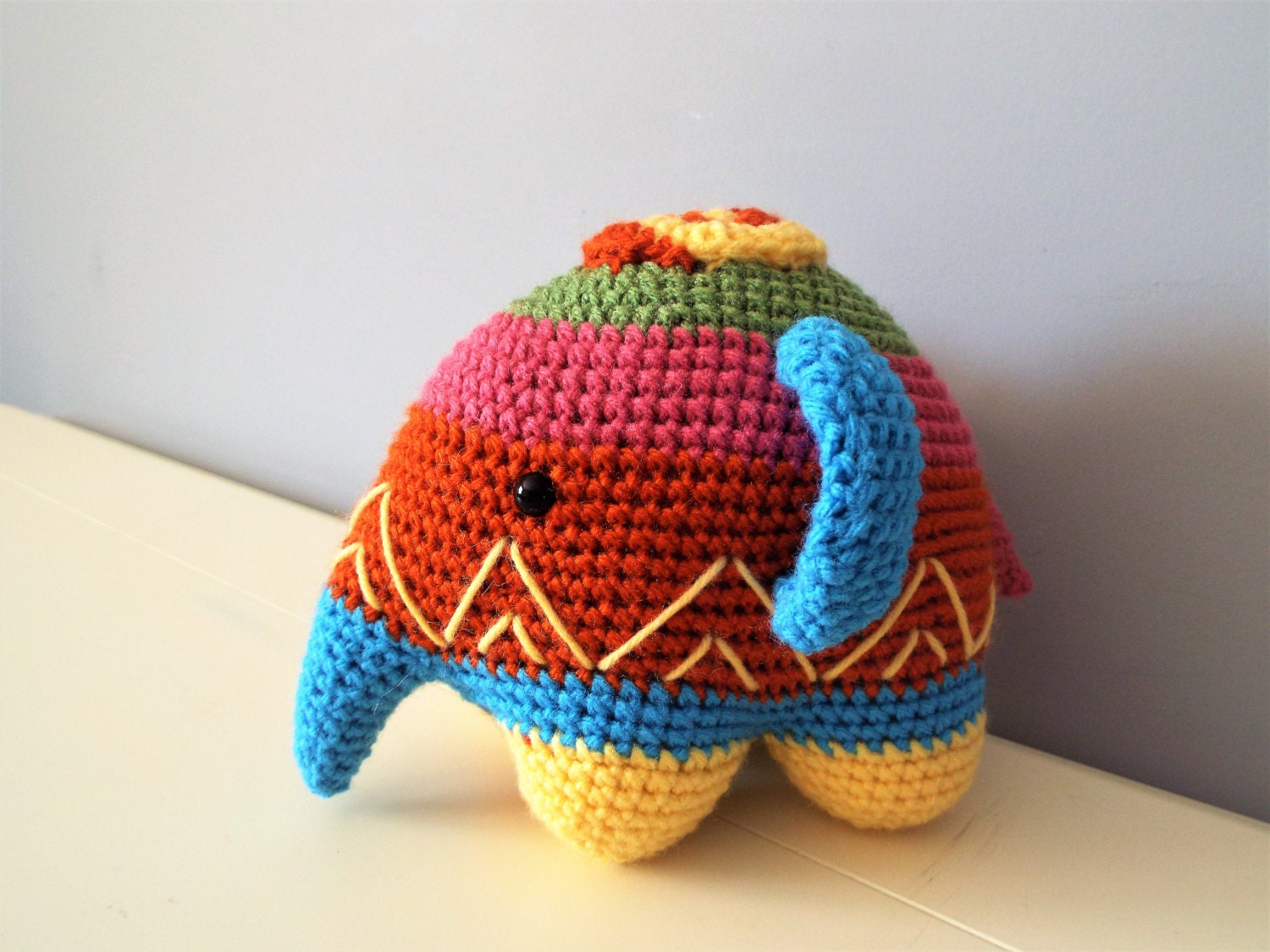 Crochet Colorful Elephant Amigurumi Dolls Gift Ideas Home Decor
