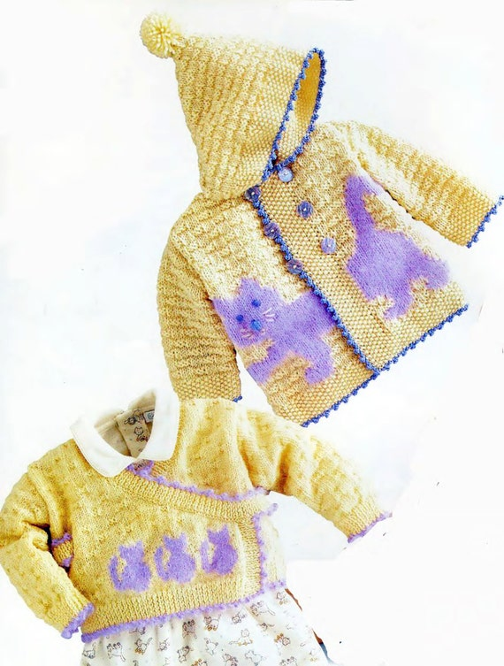Cat Coat Knitting Pattern : Pdf knitting pattern hooded cat jacket and cross over