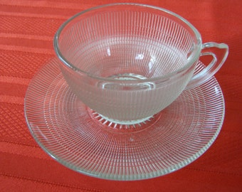 Vintage Saguenay Glass Teacup & Saucer