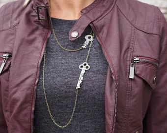 Custom Infinity Key Necklace | Hand Stamped Vintage, Repurposed, Sideways, Horizontal