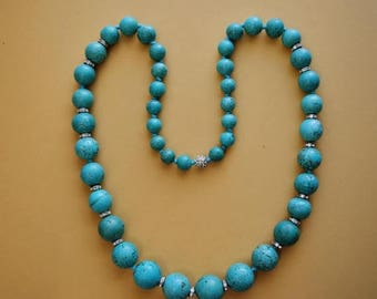 """Large vintage graduated reconstructed turquoise 44 round beads necklace, 40"""" Long, beads size, 14mm until 28mm dia., weight 502 grams"""