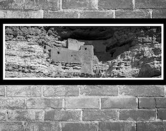 Fine Art Print - Montezuma Castle National Monument, Arizona Panoramic- blakc and white photograph, gift idea present home office wall decor