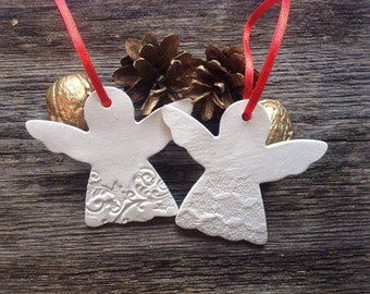Clay Christmas Angels, Christmas ornament, Christmas tree, Home decor, gift tag