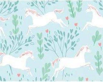 Michael Miller - Magic - KNIT - Sarah Jane - KD7191-AQUA-D - Unicorn Forest - Unicorns - Horses - Aqua - Green - Mint - White - Children's