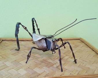 Recycled Metal Cricket Sculpture