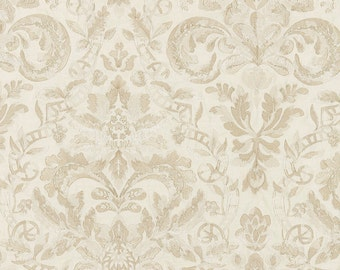 SCALAMANDRE ELIZABETH DAMASK Embroidered Linen Fabric 10 Yards Alabaster Creams