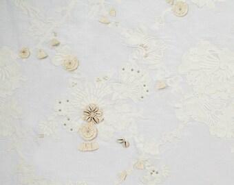 BEACON HILL Sea Queen Nautical Embroidery Seashell Tassels Beads Silk Fabric 10 Yards Tusk