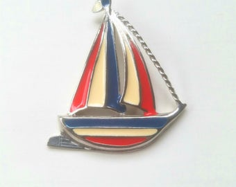Vintage nautical patriotic red white and blue sailboat boat pin brooch for women enamel set in silver