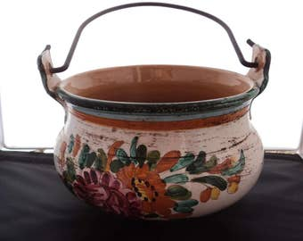 Vintage Hand Painted Italian Pottery Bowl / Cache Pot with Handle