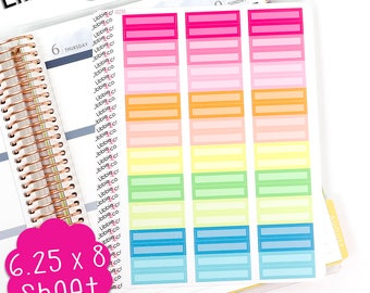 LS230 Summer Palette Skinny Rectangular Boxes!  Set of 60 Matte Vinyl Planner Stickers, Perfect for the Erin Condren Planner!