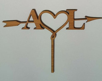 Arrow Heart Initials Cake Topper