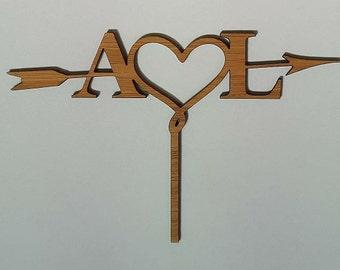 Arrow Heart Initials Cake Topper