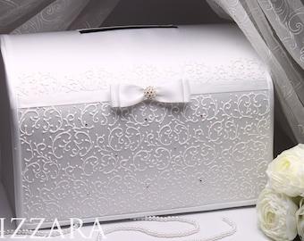 Money Box WHITE Hand Painted Wedding Gift Card