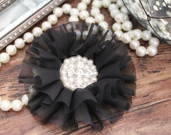 "4"" Black Organza Chiffon Fabric Flowers with Crystal Pearl Center - Fluffy - Beautiful -Hair Accessories - Wedding - TheFabFind"