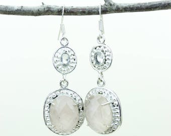 Rose Quartz 925 SOLID (Nickel Free) Sterling Silver Italian Made Dangle Earrings e673