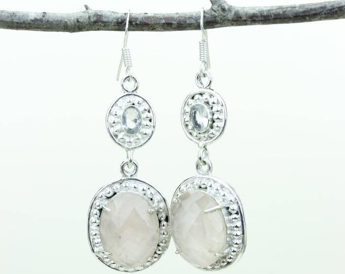 Rose Quartz 925 SOLID (Nickel Free) Sterling Silver Italian Made Dangle Earrings e673