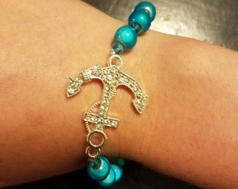 Jeweled Anchor Bracelet