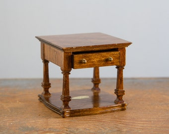 Wooden End Table with Drawer - 1:12 Scale Vintage Dollhouse Furniture