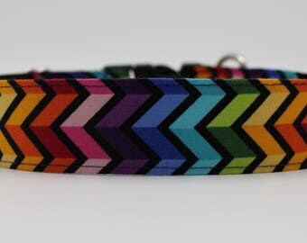 Rainbow Chevron Dog Collar, Zig Zag Dog Collar, Large Dog Collar, Boy Dog Colar, Custom Dog Collar,