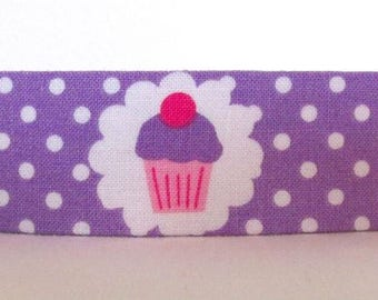 Cute Purple and Pink Cupcake Dog Collar, Polka Dot Dog Collar, Custom Dog Collar, Adjustable Dog Collar, Girl Dog Collar, Feminine Dog