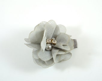 Gray Flower Clip. Chiffon Flower Clip. Flower Hair Clip. Easter Bow. Toddler Barrette. Baby Barrette. Flower Barrette. Gray Toddler Clip