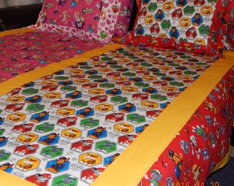 Custom Bedding - Half N Half - Paw Patrol & Shopkinsd