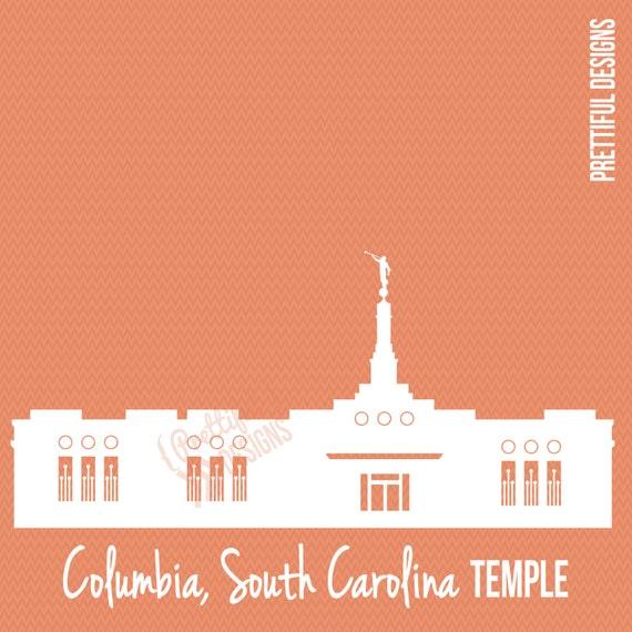 South Carolina Home Decor South Carolina Art Columbia Sc: Items Similar To Columbia South Carolina Temple Silhouette