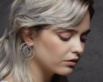 Silver tone Spiral lotus, silver earrings, tribal jewelry, tribal bellydance earrings, gypsy earrings, indian earrings, boho jewelry