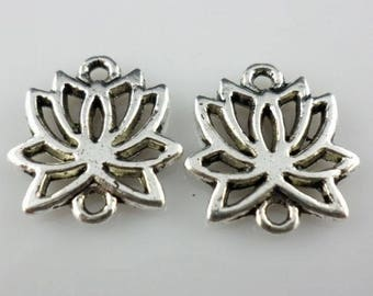 24/200Pcs Antique Silver Earrings Lotus Flower Connectors