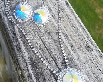 Swarovski Crystal 18mm  necklace and earring set with Crystal Rhinestones