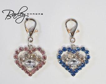 Rhinestone Heart & Paw Dog Cat Pet Collar Charm - Blue or Pink
