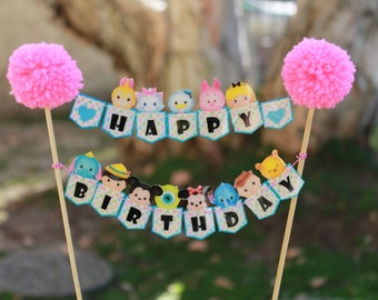 Tsum Tsum Cake Topper // Cake Banner // Bundt Cake Topper // Happy Birthday Banner