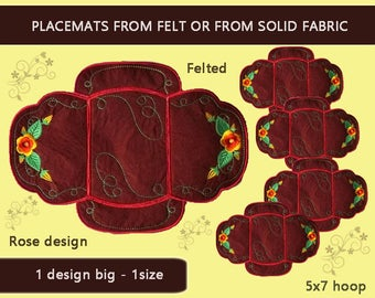 Placemats big - Roses Kit No.354 - 5x7hoop - ITH coaster - video tutorial - Machine embroidery pattern./INSTANT DOWNLOAD
