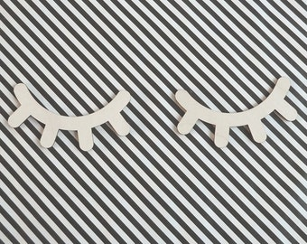Sleepy Eyes Lasercut Ornament From Wood - Wall Decor - Eyelash - Playroom - Dorm