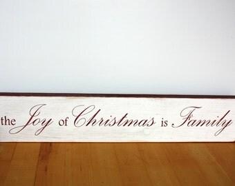 Christmas-the Joy of Christmas is Family-Barn Red-White-Distressed-Wood-Home Decor-Wall Decor-Family-Joy-Decor
