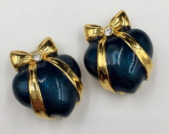 Joan Rivers Earrings, Blue Enamel, Heart Earrings, Vintage, Joan Rivers, Heart Gold Bow, Swarovski Crystals, Faberge Style, Enamel Earrings