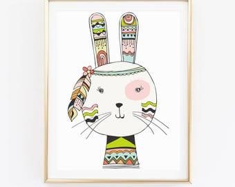 Watercolor Bunny Print, Animal Print, Nursery Wall Art, Kids Room Print, Baby Shower Gift, Christmas Gift, Home Decor, Birthday Gift, D81-25